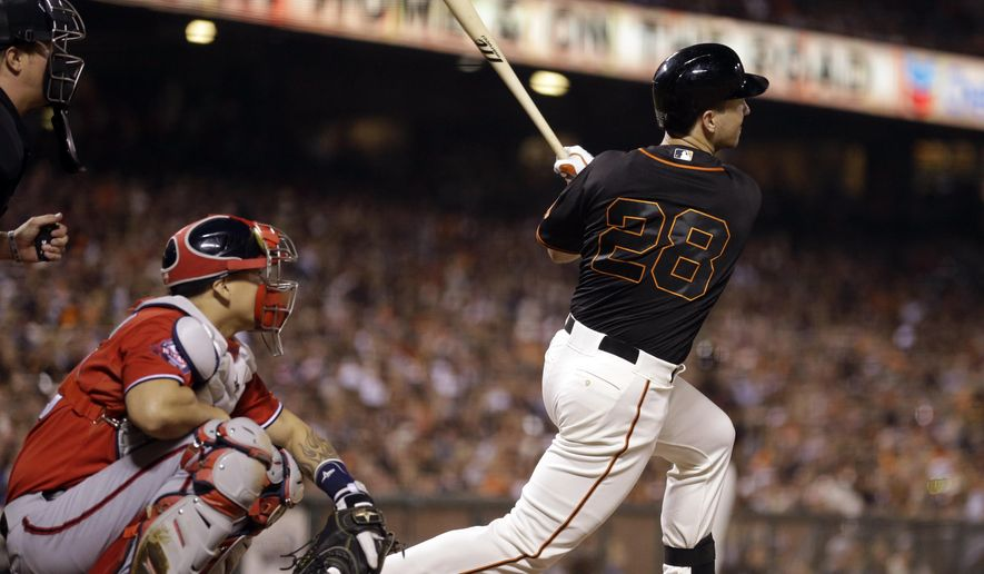 San Francisco Giants' Buster Posey swings for an RBI double against the Washington Nationals in the fifth inning of a baseball game Saturday, Aug. 15, 2015, in San Francisco. (AP Photo/Ben Margot)