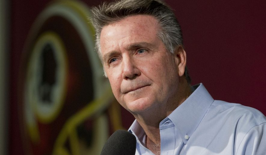 FILE - In this Dec.  31, 2014 file photo, Washington Redskins President and General Manager Bruce Allen speaks to reporters during an NFL football news conference at the Redskins Park in Ashburn, Va. Allen says the Washington Redskins will not reconsider whether to change the team's nickname if it becomes a political barrier to building a new stadium.  (AP Photo/Manuel Balce Ceneta, File)