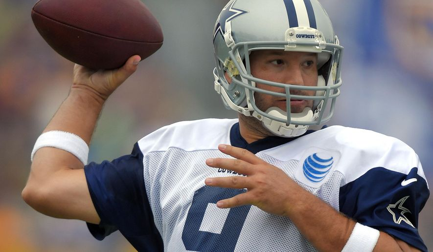 Dallas Cowboys quarterback Tony Romo passes during a joint NFL football training camp with the St. Louis Rams, Monday, Aug. 17, 2015, in Oxnard, Calif. (AP Photo/Mark J. Terrill)