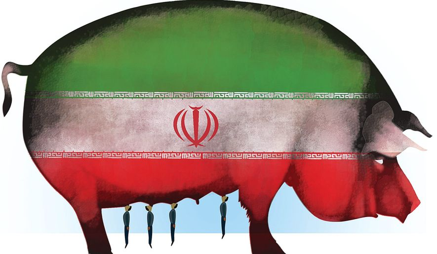Illustration on the Obama/Iran nuclear weapons deal's exclusion of American business from coming commerce with Iran by Linas Garsys/The Washington Times