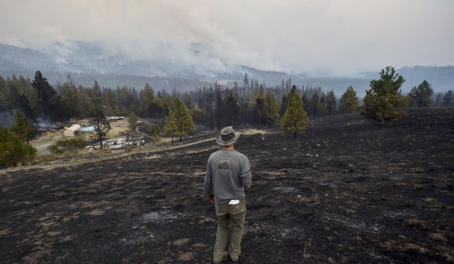 Lorne Brunson stands on a hill overlooking remains of his homestead on Sunday, Aug. 16, 2015, which was lost to a wildfire Saturday near Coyote Canyon in Fruitland, Wash. Firefighters across the Pacific Northwest are working to protect property from fast-moving wildfires that destroyed multiple homes in eastern Oregon, cut off power in Washington and forced thousands of evacuations throughout the region.  (Tyler Tjomsland/The Spokesman-Review, via AP) COEUR D'ALENE PRESS OUT; MANDATORY CREDIT