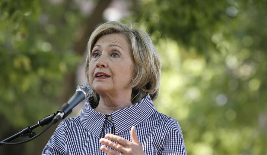 Democratic presidential candidate Hillary Rodham Clinton speaks at the Iowa State Fair in Des Moines, Iowa, on Aug. 15, 2015. (Associated Press) **FILE**