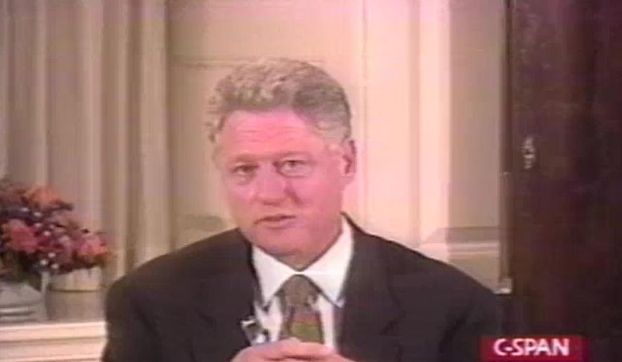 President Bill Clinton addresses the nation, August 17, 1998. (Screenshot photo courtesy of C-SPAN)