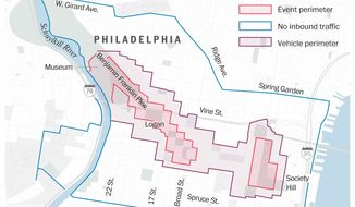 Perimeters have been draw to manage access for pedestrians and vehicles during Pope Francis' visit in Philadelphia on Sept. 26-27.