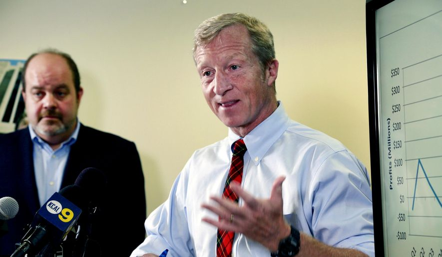 Billionaire climate activist Tom Steyer, right, speaks during a news conference with consumer advocate Jamie Court, left, president of Consumer Watchdog in Santa Monica, Calif. (AP Photo/Nick Ut, File)