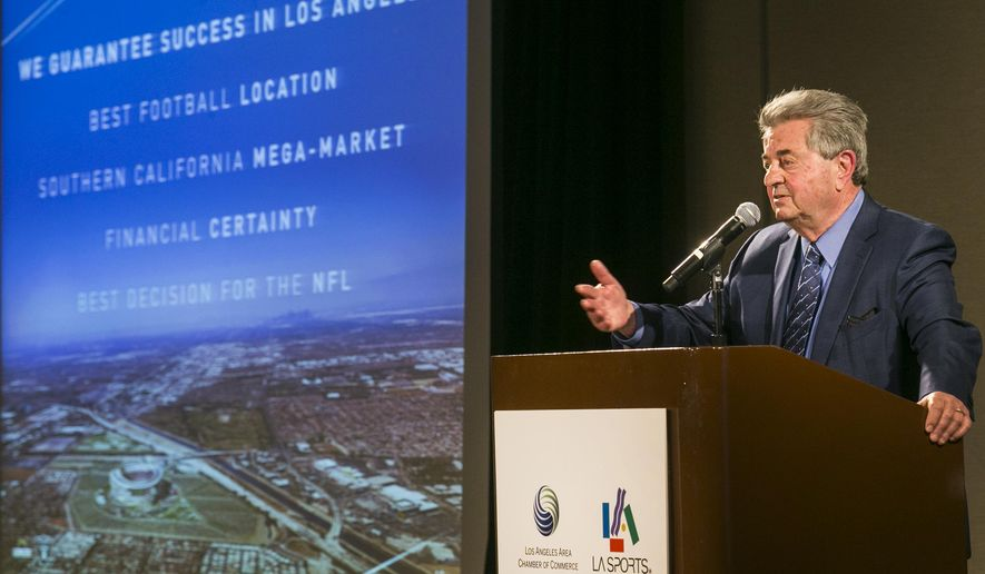 Former NFL executive Carmen Policy comments on a proposed $1.7-billion NFL football stadium during a lunch sponsored by the Los Angeles Sports Council downtown Los Angeles Monday, Aug. 17, 2015. The $1.7-billion new NFL football stadium proposed for Carson by the owners of the San Diego Chargers and Oakland Raiders will be located 15 miles from West Los Angeles, 10 miles from Orange County and 12 miles from downtown. The stadium's capacity will be 65,000 and can be increased to 75,000 for the Super Bowl. (AP Photo/Damian Dovarganes)