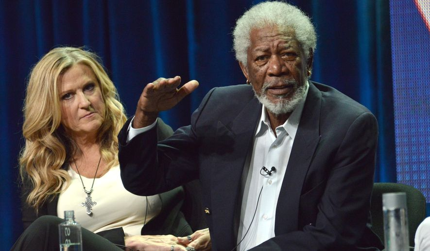 "FILE - In this Thursday, July 17, 2015, file photo, executive producer Lori McCreary, left, listens as Morgan Freeman speaks onstage during the ""Madam Secretary"" panel at the CBS 2014 Summer TCA at the Beverly Hilton Hotel in Beverly Hills, Calif. Freeman's granddaughter, Edena Hines, was stabbed to death Sunday, Aug. 16, 2015, in Manhattan. (Photo by Richard Shotwell/Invision/AP, File)"