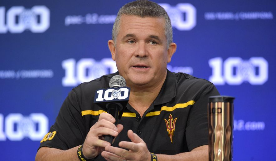 FILE - In this July 30, 2015, file photo, Arizona State head coach Todd Graham speaks to reporters during Pac-12 Football Media Days in Burbank, Calif. odd Graham is a master salesman, sometimes adding a dash of hyperbole to drive his point home. Calling this Sun Devils team the best he's coached in four years in the desert may be right on the mark.  (AP Photo/Mark J. Terrill, File)