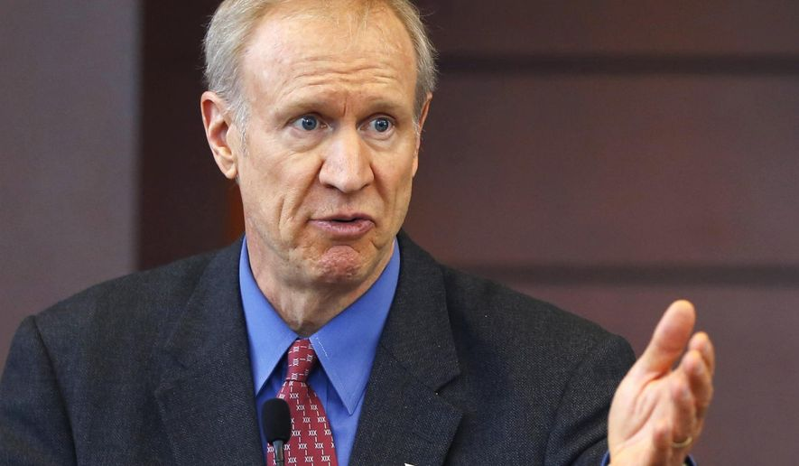 FILE - In this March 20, 2015, file photo, Illinois Gov. Bruce Rauner speaks at a news conference in Chicago.  Rauner has sent a memo to Illinois lawmakers imploring them not to overturn his dismissal of legislation that would send labor-union contract decisions to an unelected arbitrator. The Republican issued the missive to the Legislature Tuesday Aug. 18, 2015, on the eve of an expected Senate vote to override his veto of the measure that would ban a union strike or a government lockout in the event of an impasse. (AP Photo/Charles Rex Arbogast, File)