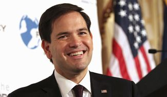 Sen. Marco Rubio, Florida Republican and presidential hopeful, smiles while speaking during an event hosted by the Foreign Policy Initiative in New York on Aug. 14, 2015. (Associated Press) **FILE**