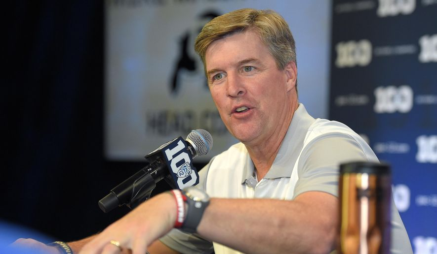 FILE - In this July 30, 2015, file photo, Colorado head coach Mike MacIntyre speaks to reporters during NCAA college Pac-12 Football Media Days in Burbank, Calif. Ever so gradually, the Colorado Buffaloes are becoming a first-rate program _ in terms of facilities, anyway. On the field, there's still plenty of work left to do. (AP Photo/Mark J. Terrill, File)