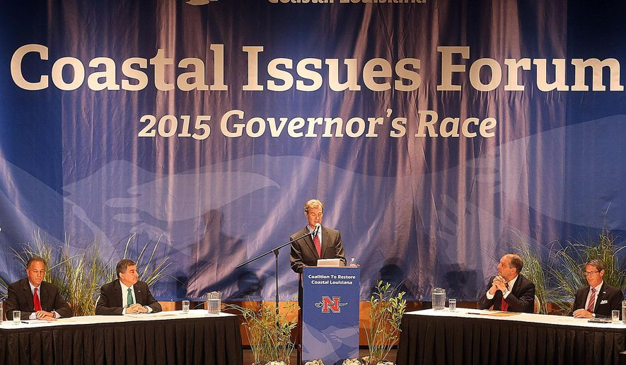 Louisiana gubernatorial candidates, from left, Scott Angelle,  Jay Dardenne, moderator Pierre Conner, candidates John Bel Edwards and David Vitter prepare for the Coalition to Restore Coastal Louisiana Coastal Issues Forum Tuesday, Aug. 18, 2015,  in Thibodaux, La. (Abby Tabor/The Daily Comet via AP)