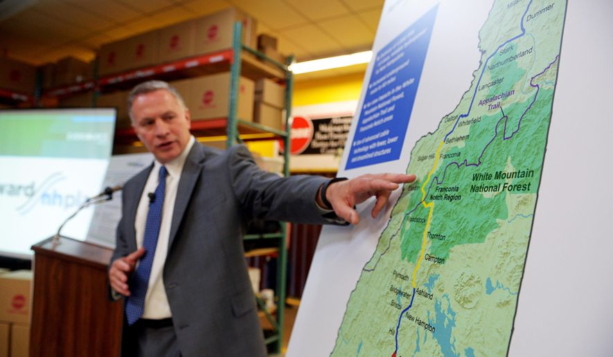"""Bill Quinlan, President of Eversource Operations in New Hampshire, presents revised plans for the Northern Pass hydroelectric project at Globe Manufacturing in Pittsfield, N.H., on Tuesday, Aug. 18, 2015. The new """"Forward NH Plan"""" calls for an additional 52 miles of buried power lines through the White Mountains National Forest. (Paul Hayes/The Caledonian-Record) MANDATORY CREDIT"""