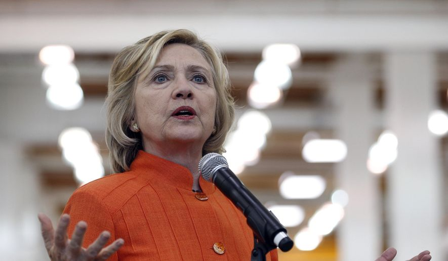 Democratic presidential candidate Hillary Rodham Clinton speaks while touring the Carpenters International Training Center in Las Vegas on Aug. 18, 2015. (Associated Press)