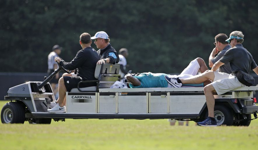 Miami Dolphins' Louis Delmas, center, is taken off the field after being injured during a joint practice with the Carolina Panthers at the Panthers' NFL football training camp in Spartanburg, S.C., Wednesday, Aug. 19, 2015. (AP Photo/Chuck Burton)