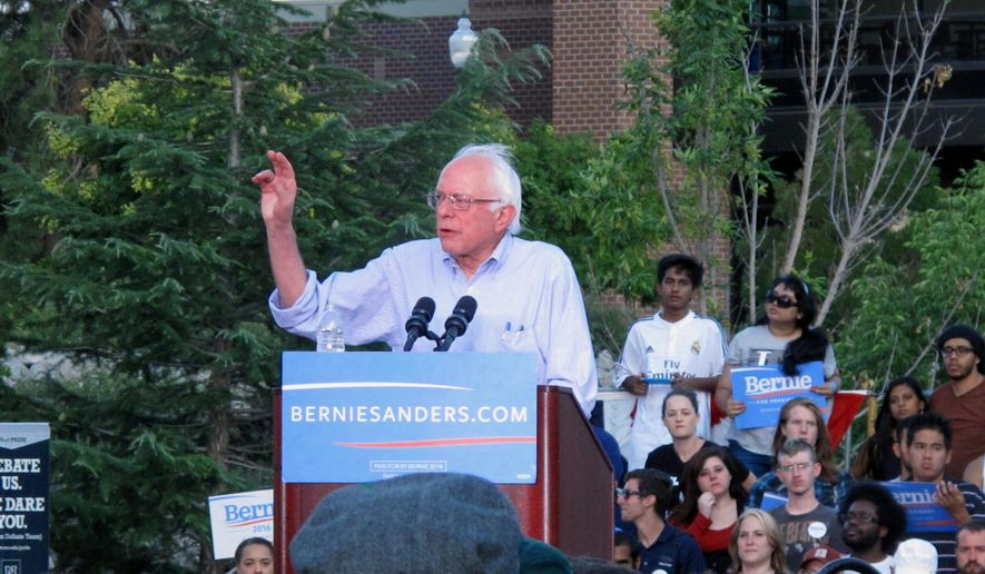Democratic presidential candidate Sen. Bernie Sanders, I-Vt., gestures during a speech Tuesday, Aug. 18, 2015, on the University of Nevada campus in Reno, Nev. (AP Photo/Scott Sonner)