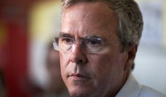 Republican presidential candidate and former Florida Gov. Jeb Bush talks to reporters at The Varsity restaurant during a campaign stop in Atlanta on Aug. 18, 2015. (Associated Press) **FILE**