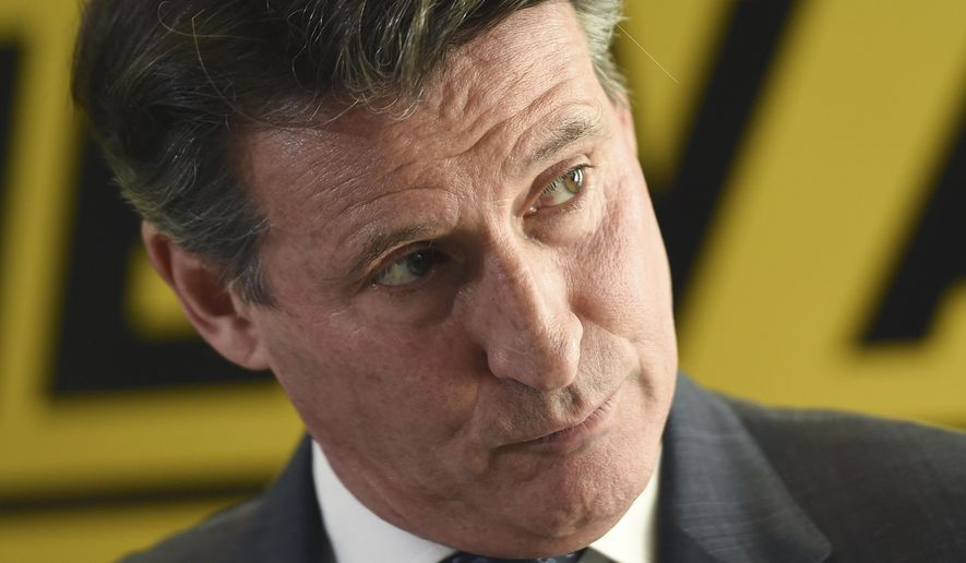FILE - In this Dec. 3, 2014 file photo, former Olympic champion Sebastian Coe unveils his IAAF presidential campaign manifesto at the British Olympic Association in London, England. Sebastian Coe has won a four-year term as president of the governing body for track and field, beating Sergei Bubka in an election Wednesday, Aug. 19, 2015, and given the mandate to restore the image of the IAAF amid a doping controversy. (AP Photo/Tim Ireland, File)