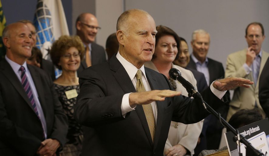 Gov. Jerry Brown speaks at a news conference about transportation in Oakland, Calif., Wednesday, Aug. 19, 2015. (AP Photo/Jeff Chiu)