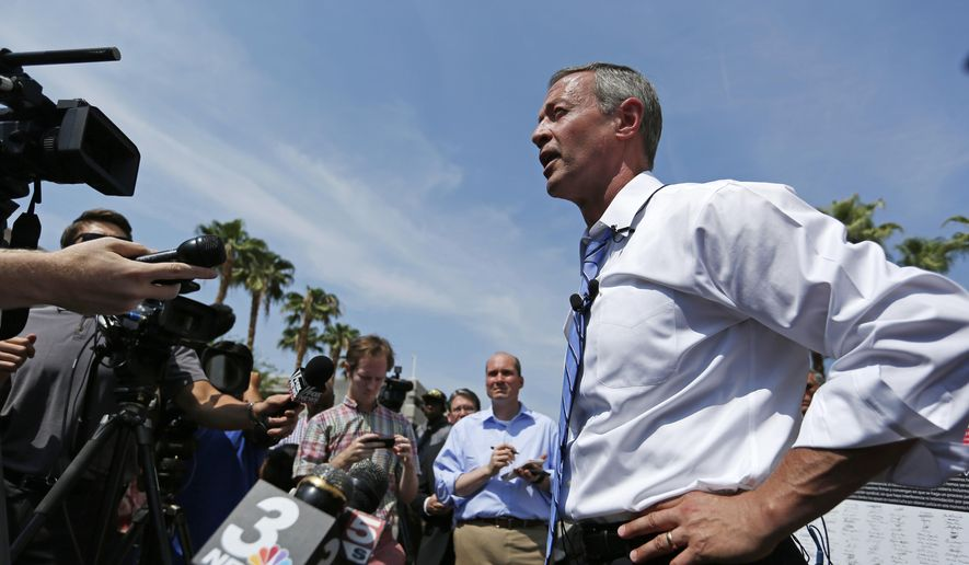 In this file photo, then-Democratic presidential candidate, former Maryland Gov. Martin O'Malley, speaks at a news conference in front of the Trump International hotel, Wednesday, Aug. 19, 2015, in Las Vegas.  (AP Photo/John Locher) **FILE**