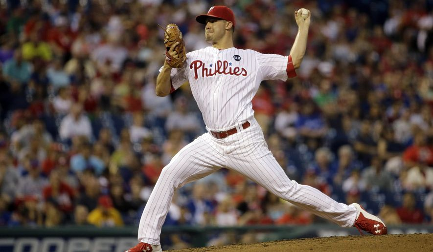 Philadelphia Phillies' Adam Morgan pitches during the fourth inning of a baseball game against the Toronto Blue Jays, Wednesday, Aug. 19, 2015, in Philadelphia. (AP Photo/Matt Slocum)