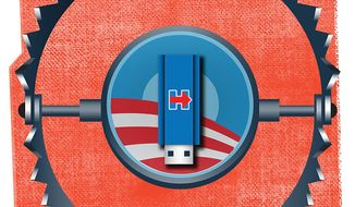Illustration on Obama administration efforts to undermine Hillary Clinton's presidential bid by Linas Garsys/The Washington Times