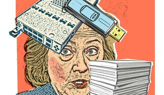 Illustration on Hillary Clinton's server problems by Alexander Hunter/The Washington Times