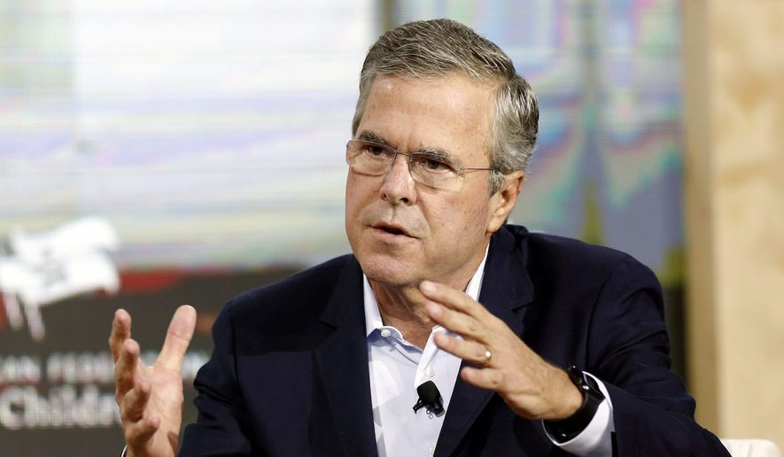 Republican presidential candidate former Florida Gov. Jeb Bush speaks during an education summit Wednesday, Aug. 19, 2015, in Londonderry, N.H. (AP Photo/Jim Cole) ** FILE **