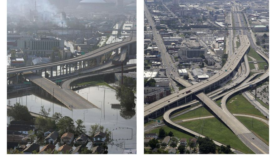 This combination of Aug. 30, 2005, and July 29, 2015, photos shows downtown New Orleans flooded by Hurricane Katrina and the same area a decade later. New Orleans has grown since Katrina but is still smaller than before the storm. Estimated population in 2014 was 384,320 compared to 494,294 in 2005. In 2014, the city climbed back into the nation's 50 most populous cities for the first time since Katrina. (AP Photo/David J. Phillip)
