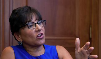 Then-Commerce Secretary Penny Pritzker gestures during an interview with The Associated Press following the first U.S.-Ukraine Business Forum co-hosted by the U.S. Chamber of Commerce and the Commerce Department in Washington on July 13, 2015. (Associated Press) ** FILE **