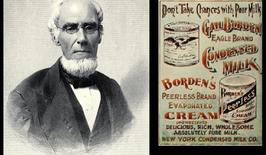 The photograph of Gail Borden and early print advertisement for Borden's condensed dairy products are in the public domain.