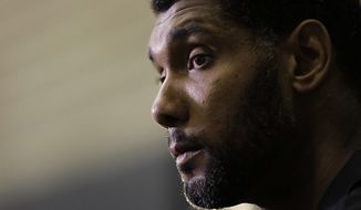 San Antonio Spurs forward Tim Duncan attends a news conference after he received the 2014-15 Twyman-Stokes Teammate of the Year NBA Basketball Award at the team's practice facility, Wednesday, Aug. 19, 2015, in San Antonio. (AP Photo/Eric Gay)
