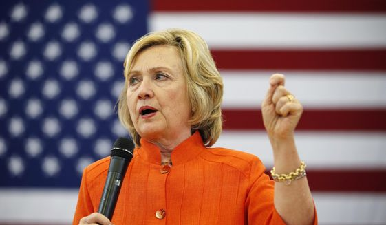 Democratic presidential candidate Hillary Rodham Clinton speaks at a town hall meeting in North Las Vegas, Nev., on Aug. 18, 2015. (Associated Press) ** FILE **