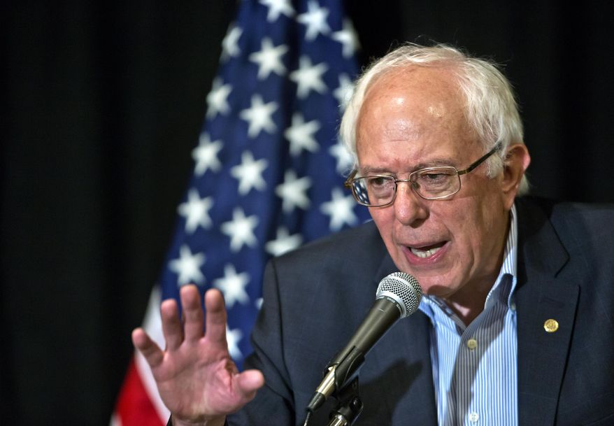 U.S. Sen. Bernie Sanders defines his opinion during a press conference following a speech at the 59th annual Nevada State AFL-CIO Constitutional Convention at the Luxor Hotel & Casino on Tuesday, Aug. 18, 2015, in Las Vegas.  (LE Baskow /Las Vegas Sun via AP)