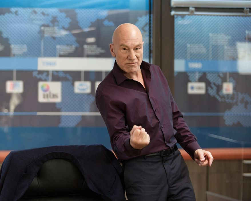 """This photo provided by Starz Entertainment, LLC shows, Patrick Stewart as Walter Blunt, in a scene from """"Blunt Talk."""" The show debuts Saturday, Aug. 22, 2015, at 9 p.m. ET/PT on Starz. (Justina Mintz/Starz Entertainment, LLC via AP)"""