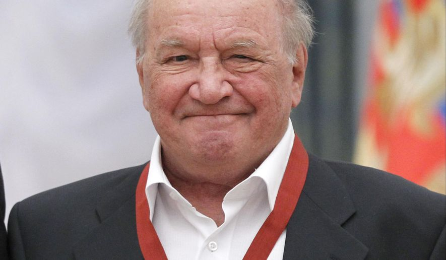 FILE - In this Thursday, Dec. 29, 2011 file pool photo, well-known Russian actor Lev Durov smiles during an award ceremony in the Kremlin in Moscow, Russia. Durov died in a hospital early Thursday, Aug. 20, 2015. He was 83. (AP Photo/Misha Japaridze, Pool)