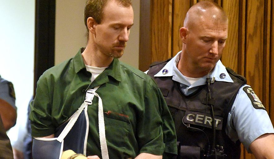 David Sweat is lead into Clinton County Court Thursday, Aug.20, 2015 in Plattsburgh, N.Y.  Sweat, a convicted killer who escaped June 6 from the Clinton Correctional Facility and spent more than three weeks on the run was arraigned Thursday on criminal charges stemming from the breakout. Sweat pleaded not guilty to first-degree escape and promoting prison contraband. He is due back in court on September 29. (Rob Fountain/Press-Republican via AP) MANDATORY CREDIT