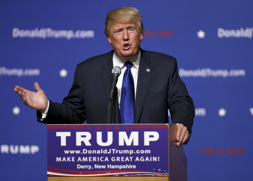 Republican presidential candidate businessman Donald Trump speaks in Derry, N.H., in this Aug. 19, 2015, file photo. (AP Photo/Mary Schwalm, File)