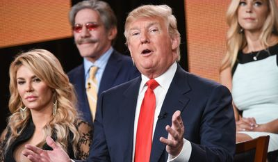 "Brandi Glanville, from left, Geraldo Rivera, Donald Trump, and Kate Gosselin participate in the ""The Celebrity Apprentice"" panel at the NBC 2015 Winter TCA on Friday, Jan. 16, 2015, in Pasadena, Calif. (Photo by Richard Shotwell/Invision/AP)"