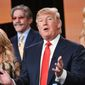 """Brandi Glanville, from left, Geraldo Rivera, Donald Trump, and Kate Gosselin participate in the """"The Celebrity Apprentice"""" panel at the NBC 2015 Winter TCA on Friday, Jan. 16, 2015, in Pasadena, Calif. (Photo by Richard Shotwell/Invision/AP)"""