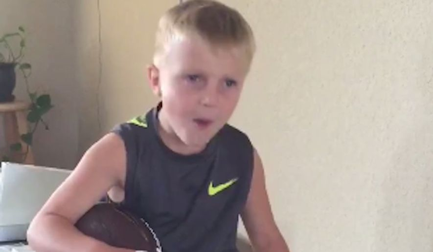 Brody Dill, the 4-year-old boy who was nailed in the head with a football thrown by Republican presidential candidate Marco Rubio in a now-viral video, is talking tough in a new update. (Twitter/@JackWhitver)