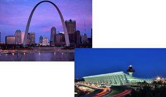 Image of the Gateway Arch by Parker Botanical and Image of Dulles Airport by Joe Ravi