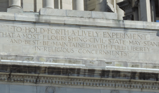 Quote of John Clarke on the frieze of the Rhode Island Statehouse in Providence.