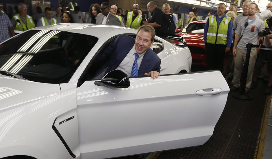 Ford Motor Co., Executive Chairman Bill Ford enters the 2015 Ford Shelby GT350R on the assembly line the Flat Rock Assembly Plant, Thursday, Aug. 20, 2015, in Flat Rock, Mich. Ford plans on building 37 GT350R and 100 GT350 vehicles on the same assembly line that produces the Mustang and Ford Fusion. (AP Photo/Carlos Osorio)