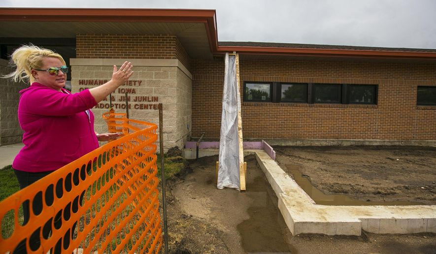 In this photo taken Wednesday Aug. 19, 2015 Humane Society of North Iowa Executive Director Sybil Soukup points to where the new 1,200-square-foot expansion will be added to the existing building to house up to 40 cat kennels in Mason City, Iowa. (Chris Zoeller/Globe-Gazette via AP) MANDATORY CREDIT