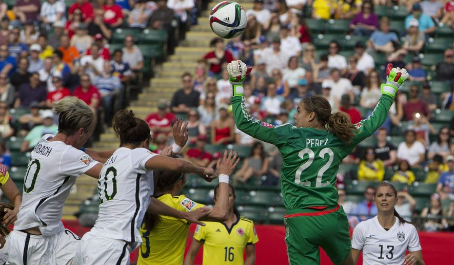 FILE - In this June 22, 2015, file photo, Colombia's goalkeeper Catalina Perez (22) makes a save against the United States during first half FIFA Women's World Cup round of 16 action in Edmonton, Alberta, Canada. Miami goalkeeper Catalina Perez held her ground against the best women's soccer team in the world this summer. (Jason Franson/The Canadian Press via AP, File) MANDATORY CREDIT