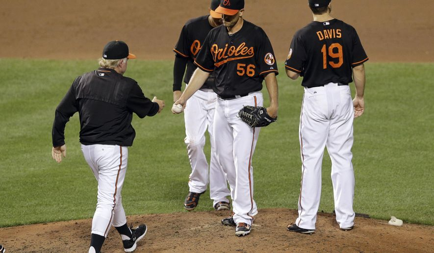 Baltimore Orioles manager Buck Showalter, left, removes relief pitcher Darren O'Day (56) during the eighth inning of a baseball game against the Minnesota Twins, Friday, Aug. 21, 2015, in Baltimore. (AP Photo/Patrick Semansky)