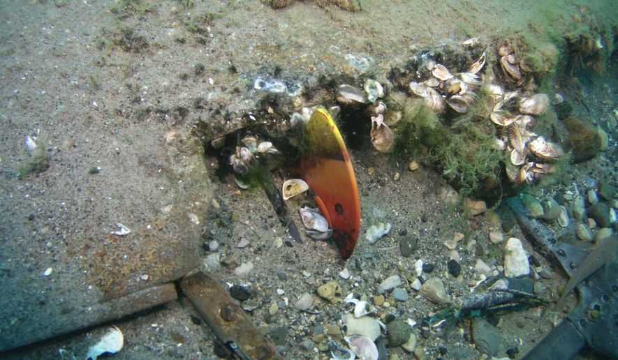 In a photo provided by NOAA Thunder Bay National Marine Sanctuary, the wreckage of a P-39 is shown at the bottom of Lake Huron on Tuesday, Aug. 11, 2015. Seven divers spent a week archaeologically documenting for the first time the wreckage of the plane that was piloted by a member of the famed Tuskegee Airmen when it crashed seven decades ago during a training exercise. (Stephanie Gandulla/NOAA- Thunder Bay National Marine Sanctuary via AP)