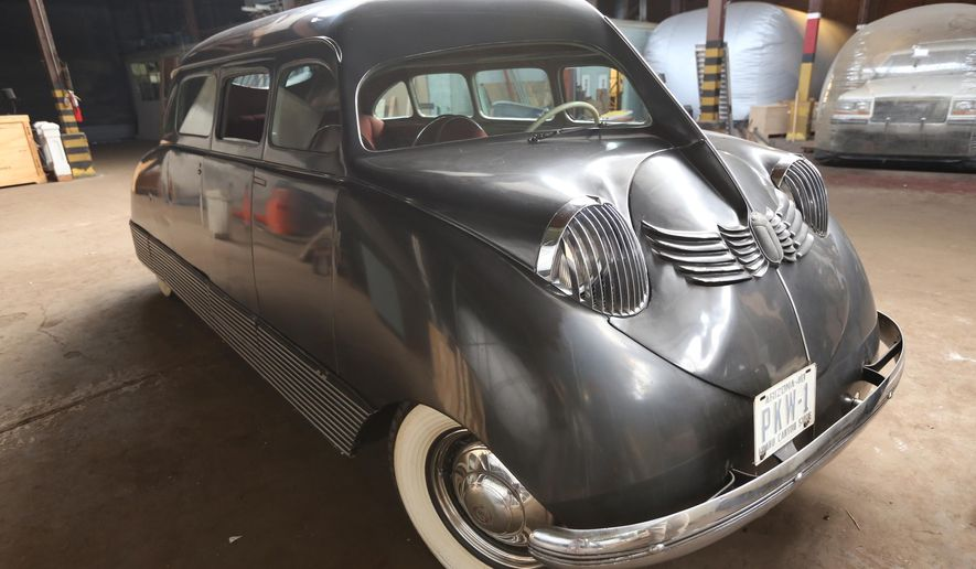 This photo taken July 15, 2015, shows a 1935 Stout Scarab donated in the 1950s by Phillip Wrigley to the Detroit Historical Society in Detroit. The Detroit Historical Museum is preparing to show off the rare car. (Jessica J. Trevino/Detroit Free Press via AP)  DETROIT NEWS OUT; TV OUT; MAGS OUT; NO SALES; MANDATORY CREDIT DETROIT FREE PRESS