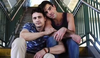 """A film festival sponsored by the U.S. Embassy in Moscow is reportedly defying Russia's law banning gay """"propaganda"""" by screening the American film """"I Am Michael,"""" starring Zachary Quinto, right, and James Franco, left. (coolconnections.ru)"""